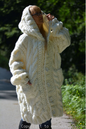 Hand knitted soft merino blend hooded unisex cardigan