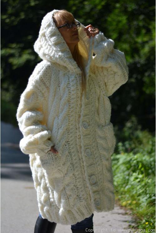Hand knitted soft merino blend hooded unisex cardigan