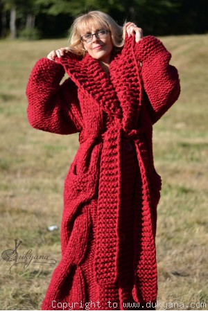 Hand knitted soft merino blend collared cable cardigan in red