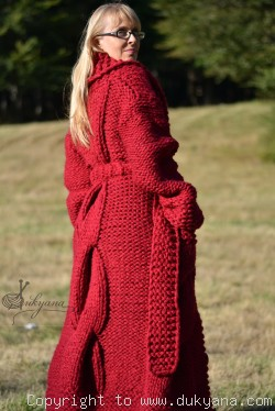 On request Hand knitted soft merino blend collared cable cardigan in red
