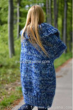 Knitted unisex chunky wool mohair cardigan in blue mix