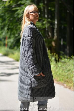 Shawl collared wool cardigan in dark gray