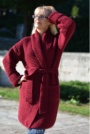 Shawl collared wool cardigan in burgundy red