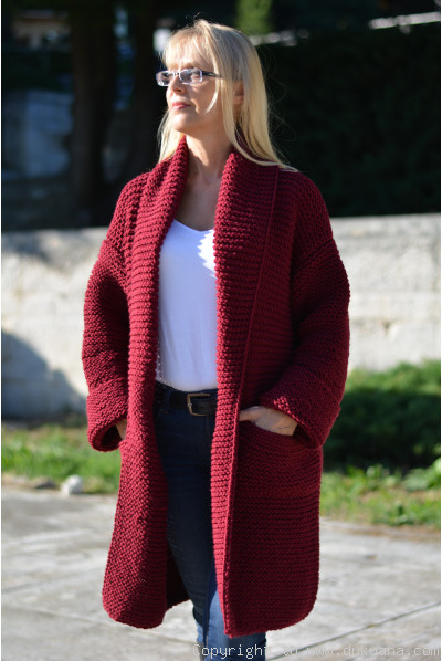 Shawl collared wool cardigan in burgundy red