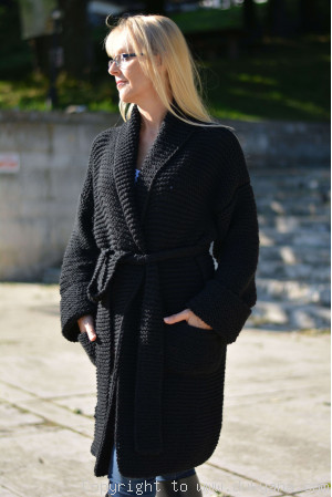 Shawl collared wool cardigan in black