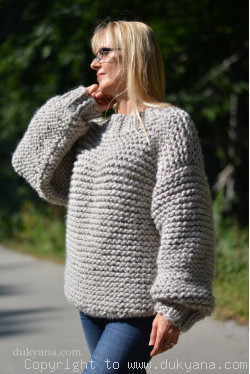 Chunky supersoft wool sweater in dove gray