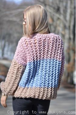 Multi-stripe chunky merino blend sweater