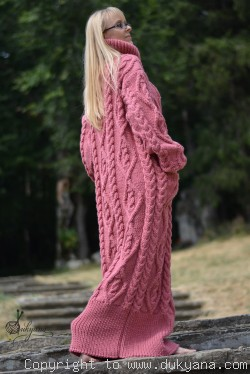 On request hand knitted soft merino blend T-neck sweater dress