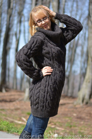 Hand knitted soft pure merino T-neck sweater dress