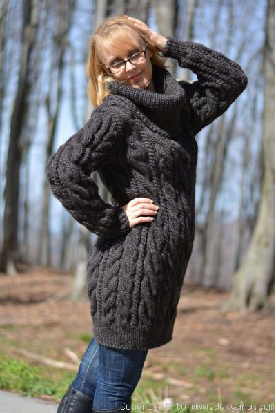 Hand knitted soft pure merino T-neck sweater dress
