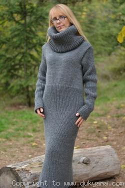 Hand knitted soft merino blend huge T-neck sweater dress in gray