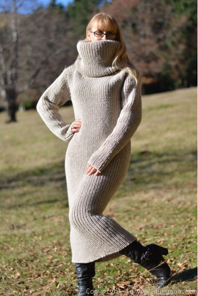 On request hand knitted soft merino blend huge T-neck sweater dress