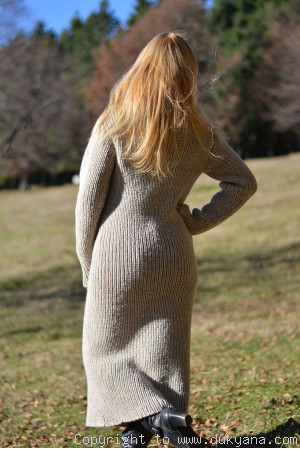 Hand knitted soft merino blend huge T-neck sweater dress