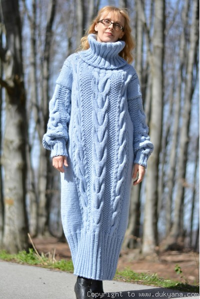 Hand knitted soft merino blend T-neck sweater dress in blue