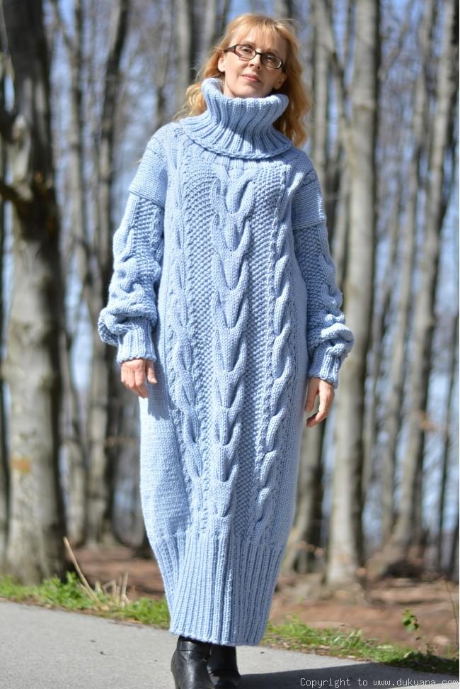 f0c9f04fecd Hand knitted soft merino blend T-neck sweater dress in blue/D45