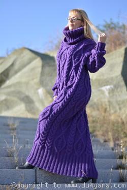 Hand knitted soft merino blend T-neck sweater dress