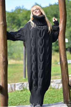 Hand knitted soft merino blend T-neck sweater dress in black