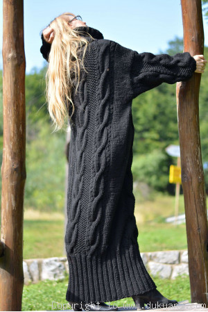 Hand knitted soft merino blend T-neck sweater dress in black