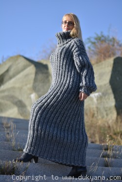 On request Hand knitted chunky merino blend long T-neck sweater dress in gray