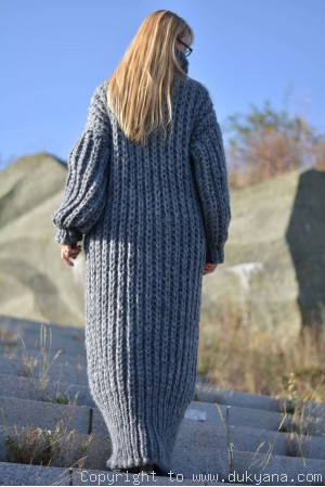 Hand knitted chunky merino blend long T-neck sweater dress in gray