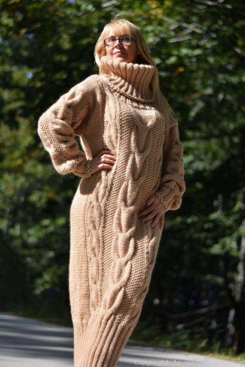 Pure merino wool sweater dress with a T-neck in camel beige