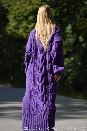 Hand knitted soft merino blend T-neck sweater dress in purple