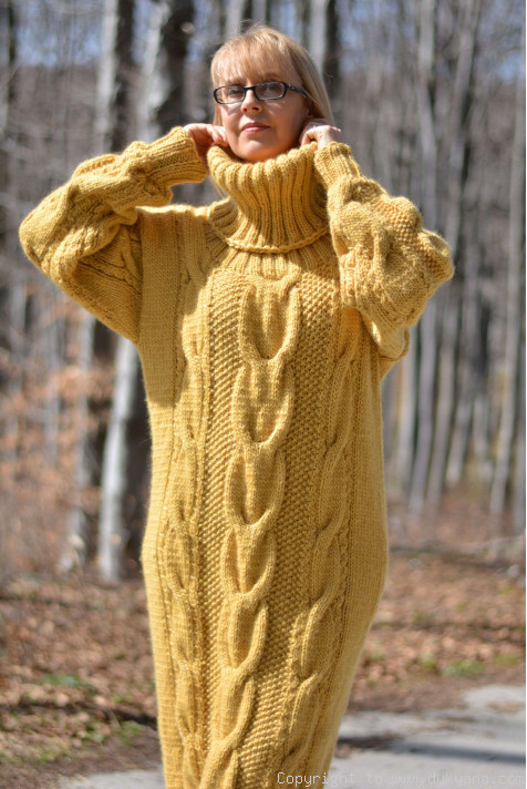 Pure Merino Wool T Neck Sweater Cable Dress In Yellow D67