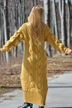 Pure merino wool T-neck sweater cable dress in mustard yellow