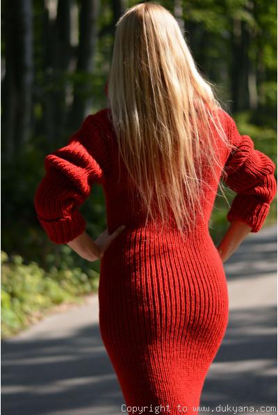Hand knitted soft merino blend huge T-neck sweater dress