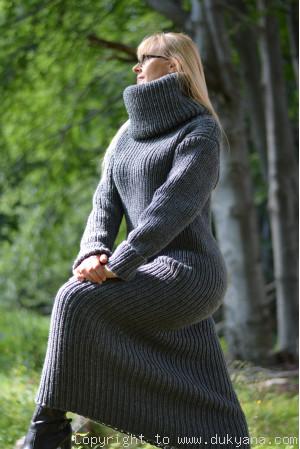 Ribbed hand knitted Merino wool long dress