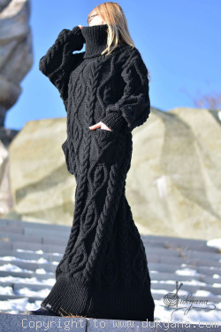 Hand knitted soft merino blend T-neck sweater dress