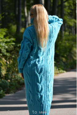 Pure merino wool cable dress in turquoise blue