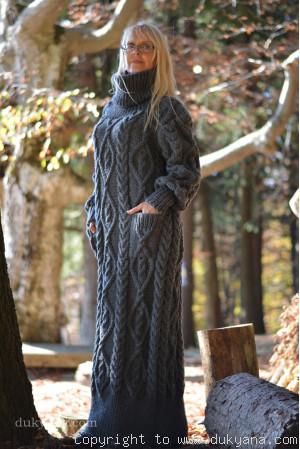 Handknit soft merino wool dress in dark gray
