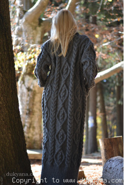 Handknit soft merino wool dress in dark gray