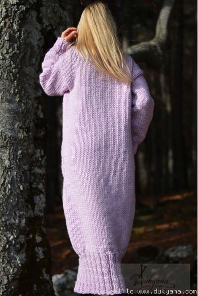 Chunky merino blend long T-neck sweater dress in violet