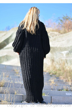 Hand knitted chunky merino blend long T-neck sweater dress in black