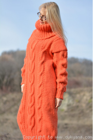 Pure Australian merino long T-neck sweater dress in custom colour