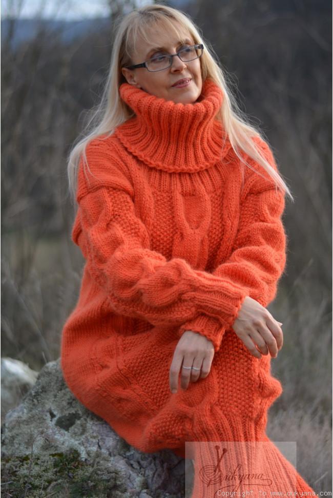 Red winter hand-made dress with merino wool custom