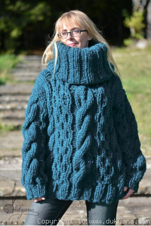 Handknit chunky merino blend soft huge T-neck cabled sweater in teal
