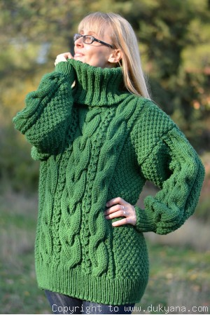 On request Hand knitted merino blend T-neck cabled wool sweater in green