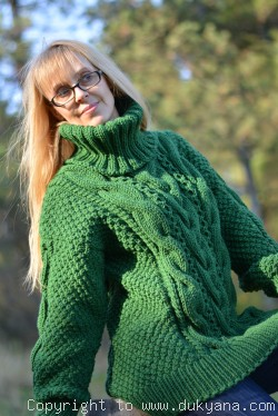 Hand knitted merino blend T-neck cabled wool sweater in green