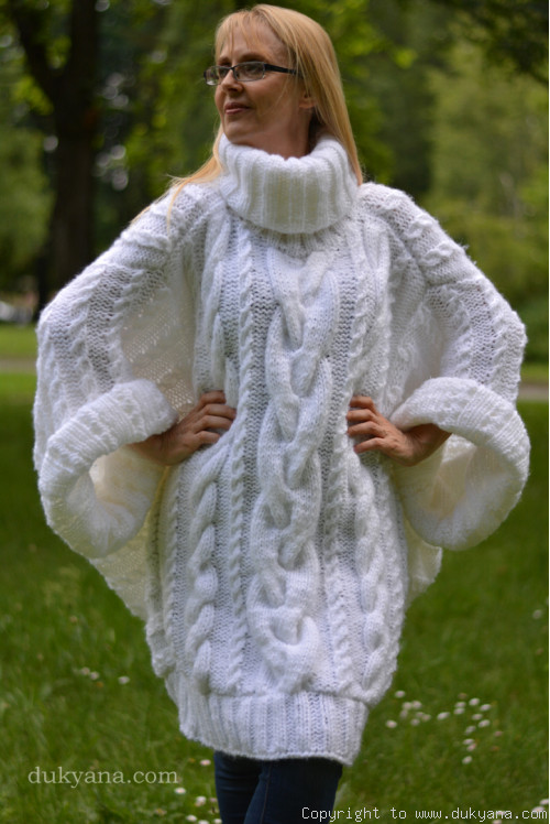 oversized designer mohair cabled sweater in white