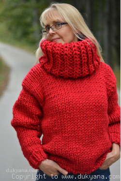 Boat neck chunky and soft handmade wool sweater in red