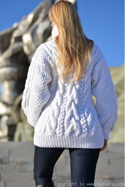 Hand knitted merino blend T-neck cabled wool sweater in white