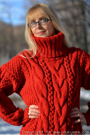 Hand knitted merino blend T-neck cabled wool sweater in red