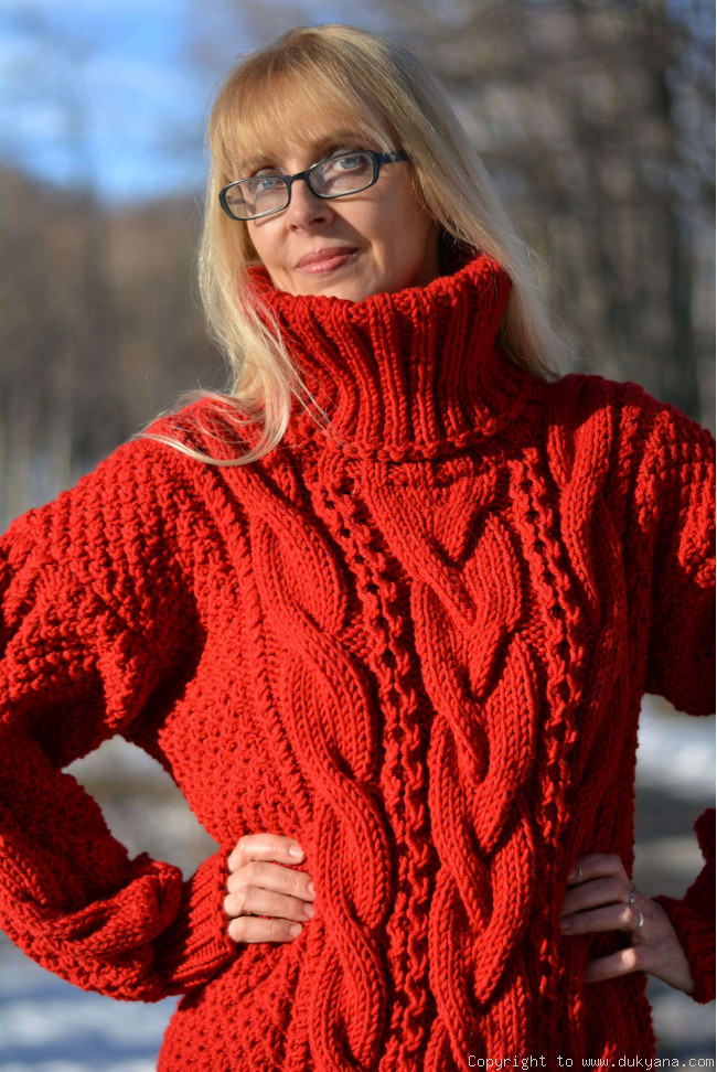 hand-knitted M red wool sweater