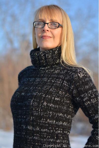 Hand knitted soft merino and angora blend T-neck sweater