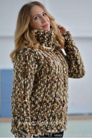 Knitted chunky wool blend sweater