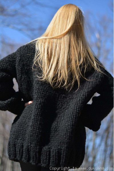 Hand knit mens chunky wool blend collared cardigan in black