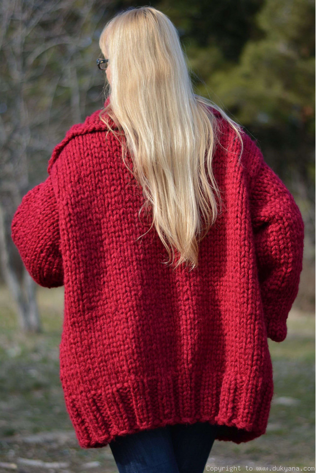 Hand knit mens chunky wool blend collared cardigan in true red CAM4 bdf5e436a